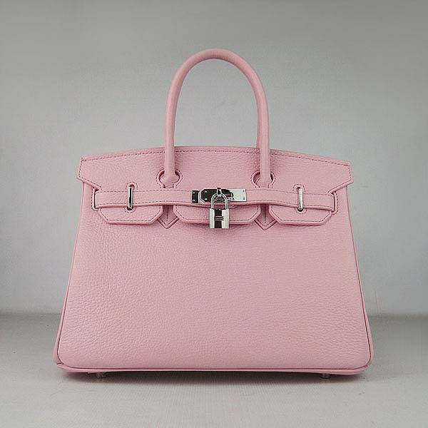 Hermes Birkin 30cm 6088 Pink Calfskin Leather With Silver Hardware