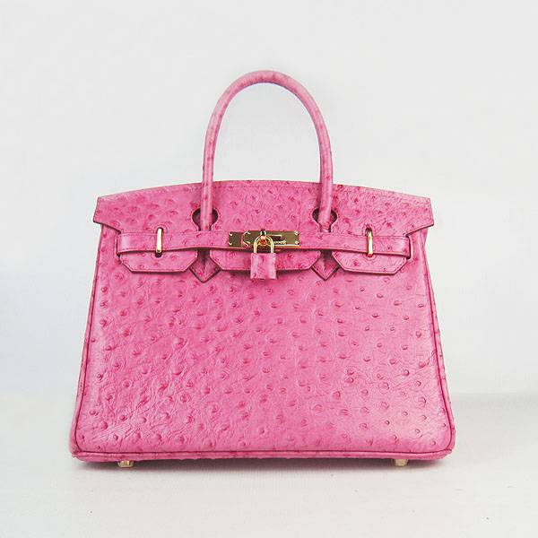 Hermes Birkin 30cm 6088 Rose Red Ostrich Leather With Gold Hardware