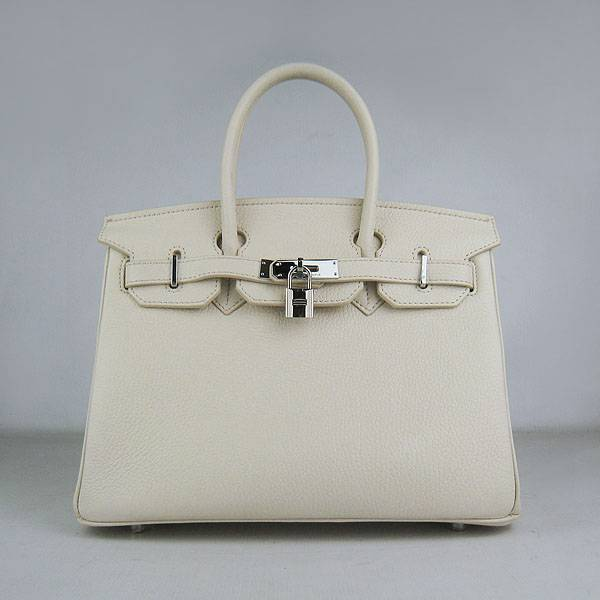 Hermes Birkin 30cm 6088 Cream Calfskin Leather With Silver Hardware
