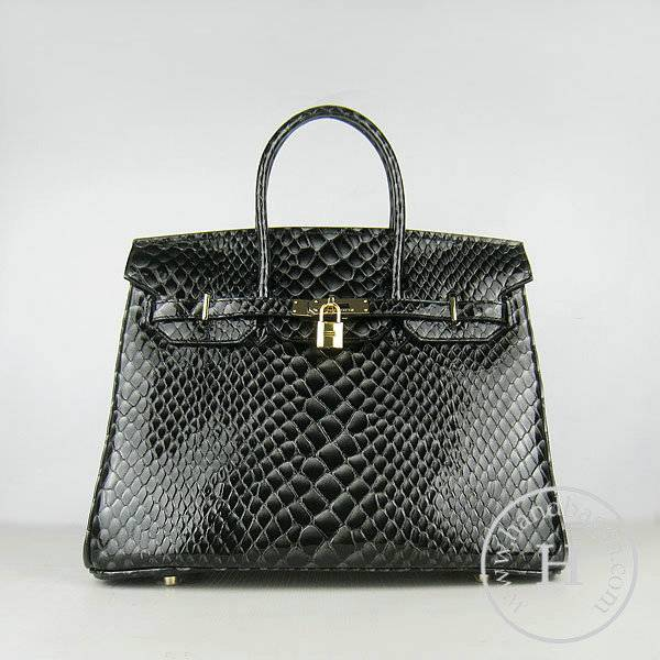 Hermes Birkin 35cm 6089 Black Fish Leather With Gold Hardware