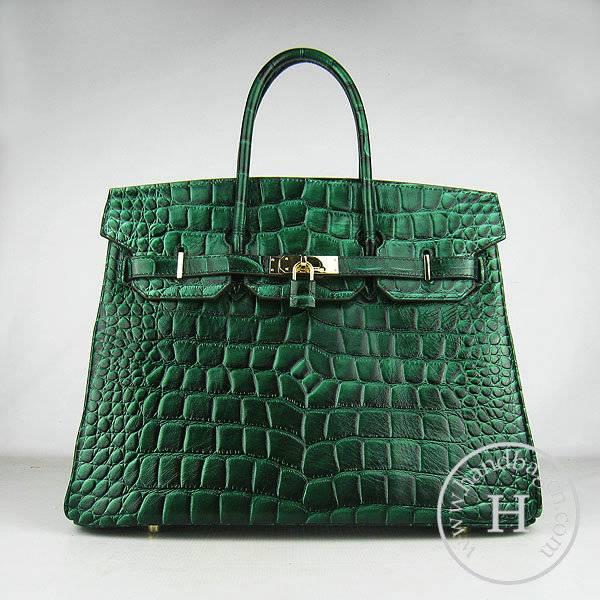 Hermes Birkin 35cm 6089 Dark Green Big Alligator Leather With Gold Hardware