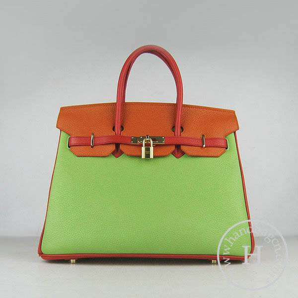 Hermes Birkin 35cm 6089 Mix Calfskin Leather With Gold Hardware