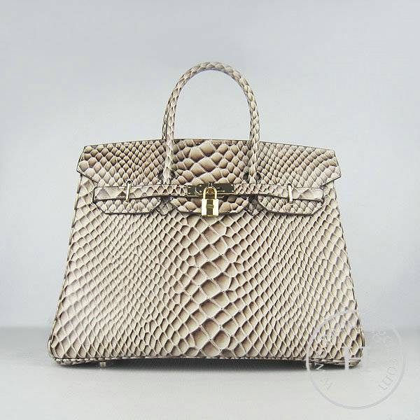 Hermes Birkin 35cm 6089 Gray Fish Leather With Gold Hardware