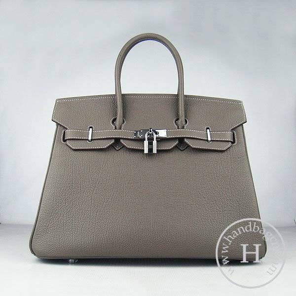 Hermes Birkin 35cm 6089 Khaki Cow Leather With Silver Hardware