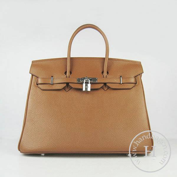 Hermes Birkin 35cm 6089 Light Coffee Calfskin Leather With Silver Hardware
