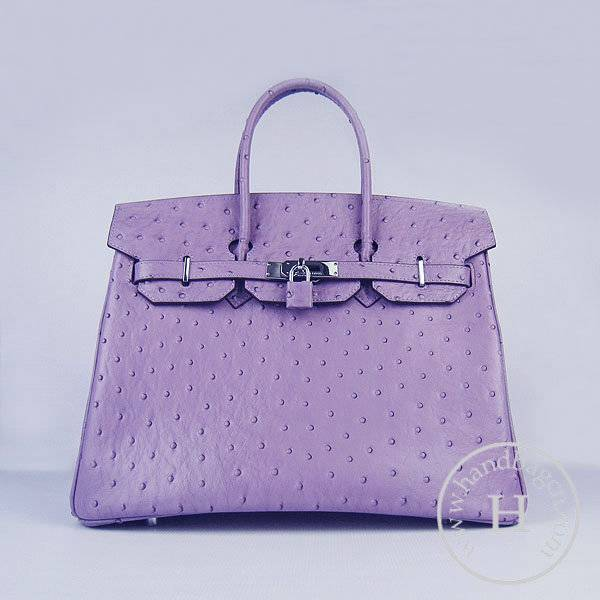 Hermes Birkin 35cm 6089 Purple Ostrich Leather With Silver Hardware