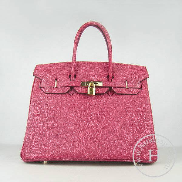 Hermes Birkin 35cm 6089 Red Pearl Leather With Gold Hardware