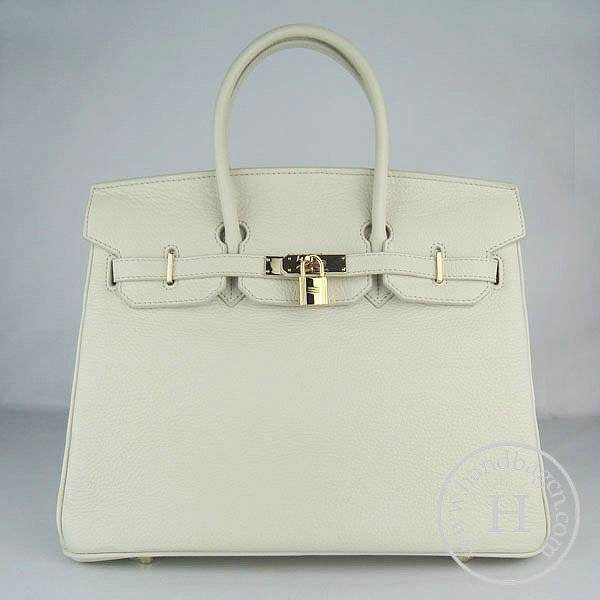 Hermes Birkin 35cm 6089 Cream Calfskin Leather With Gold Hardware