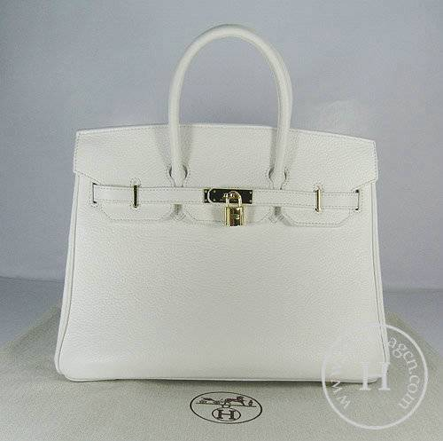 Hermes Birkin 35cm 6089 White Calfskin Leather With Gold Hardware