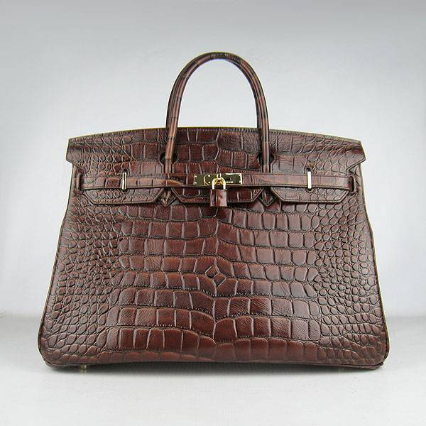Hermes Birkin 40cm 6099 Dark Coffee Alligator Leather With Gold Hardware