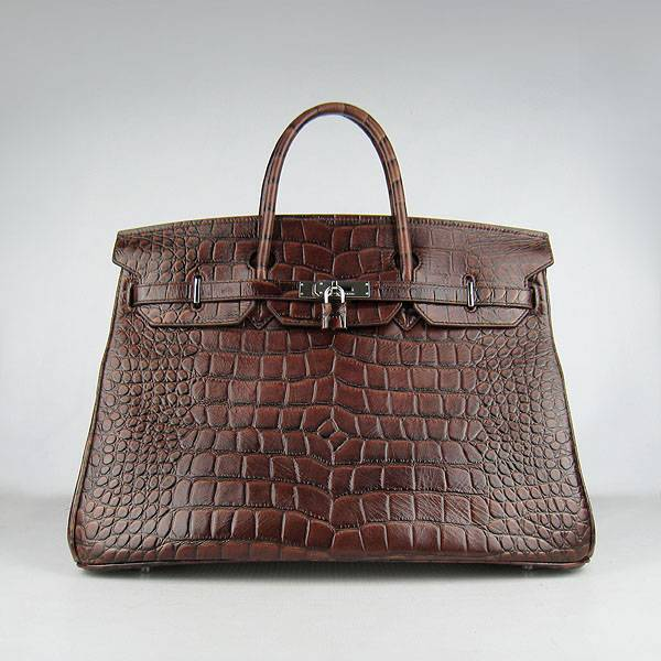 Hermes Birkin 40cm 6099 Dark Coffee Alligator Leather With Silver Hardware