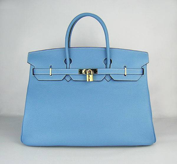 Hermes Birkin 40cm 6099 Light Blue Calfskin Leather With Silver Hardware