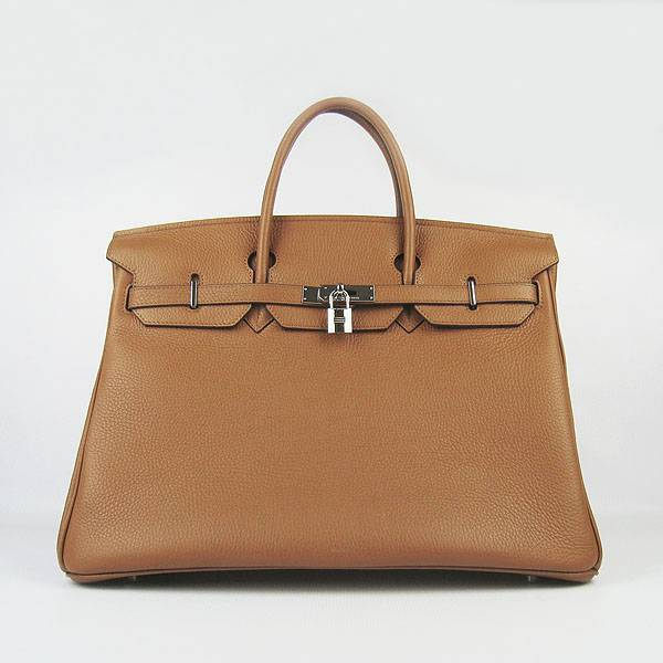 Hermes Birkin 40cm 6099 Light Coffee Calfskin Leather With Silver Hardware