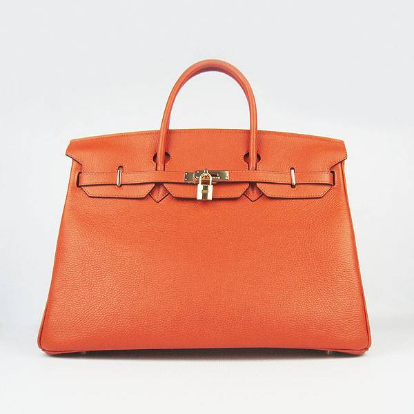 Hermes Birkin 40cm 6099 Orange Calfskin Leather With Gold Hardware