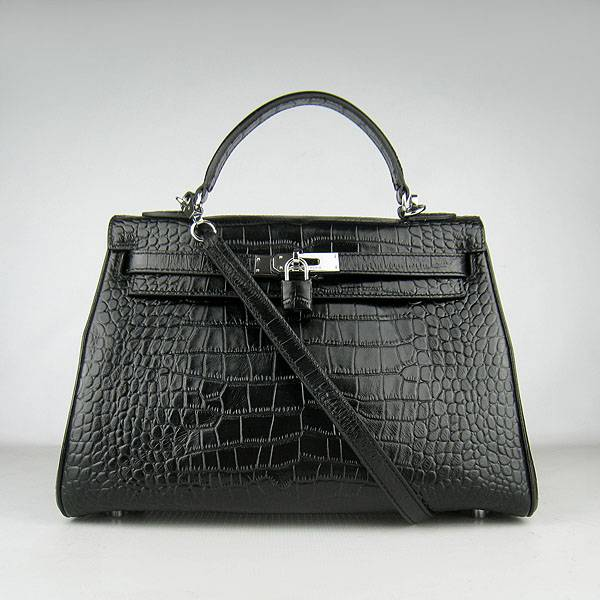 Hermes Mini Kelly 32cm Pouchette 6108 Black Alligator Leather With Silver Hardware