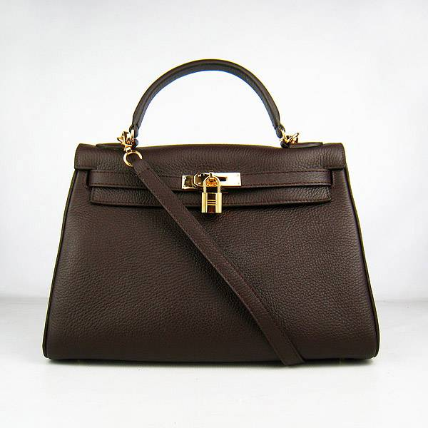 Hermes Mini Kelly 32cm Pouchette 6108 Dark Coffee Calfskin Leather With Gold Hardware