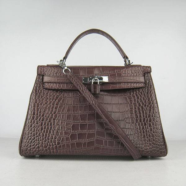 Hermes Mini Kelly 32cm Pouchette 6108 Dark Coffee Alligator Leather With Silver Hardware