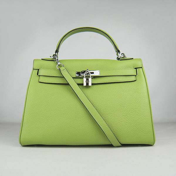 Hermes Mini Kelly 32cm Pouchette 6108 Green Calfskin Leather With Silver Hardware