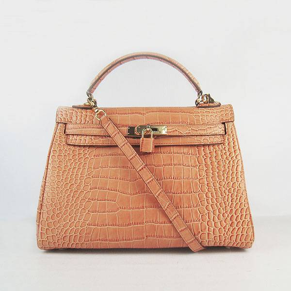 Hermes Mini Kelly 32cm Pouchette 6108 Orange Alligator Leather With Gold Hardware