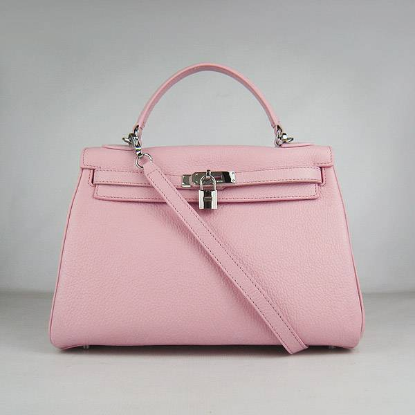 Hermes Mini Kelly 32cm Pouchette 6108 Pink Calfskin Leather With Silver Hardware