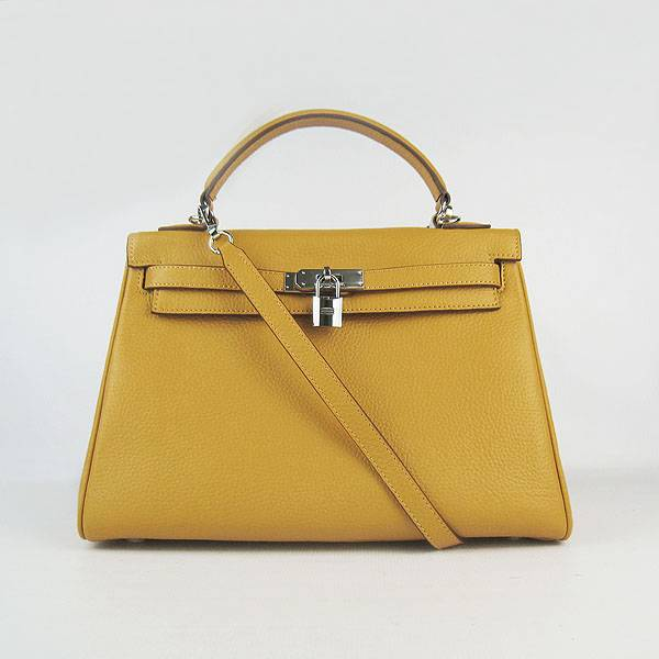 Hermes Mini Kelly 32cm Pouchette 6108 Yellow Calfskin Leather With Silver Hardware