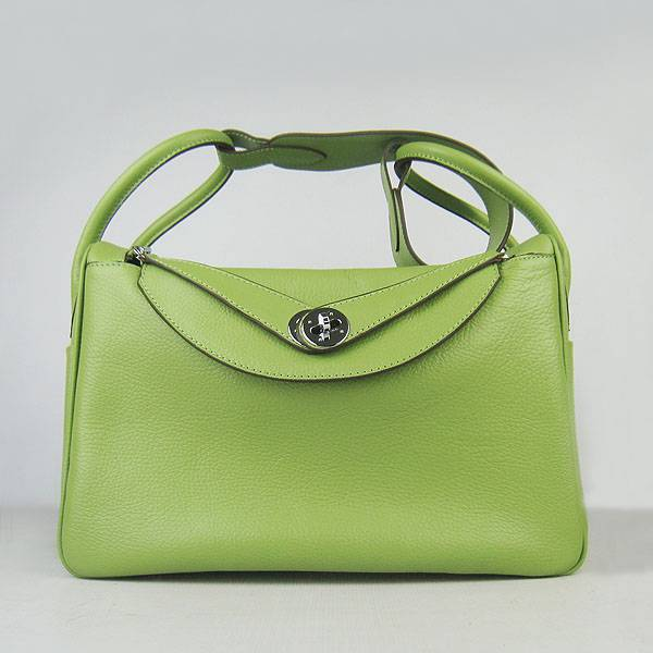 Hermes Lindy 34cm 6208 Green Calfskin Leather With Silver Hardware
