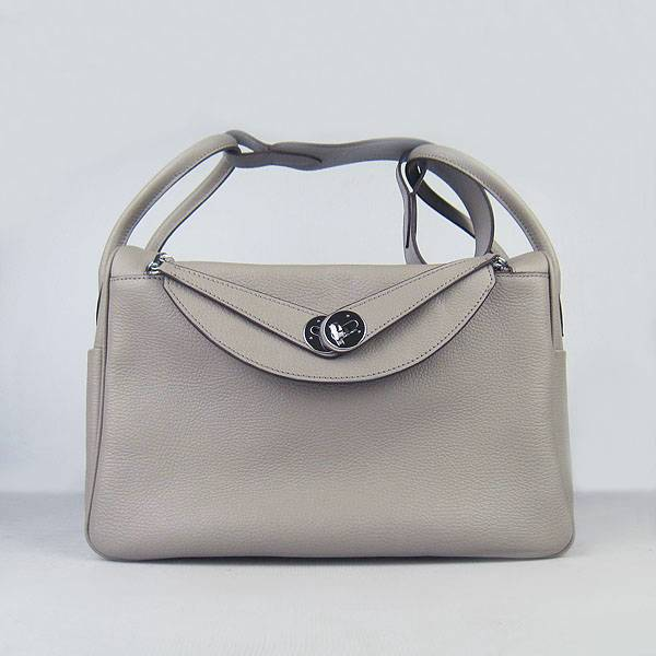 Hermes Lindy 34cm 6208 Gray Calfskin Leather With Silver Hardware
