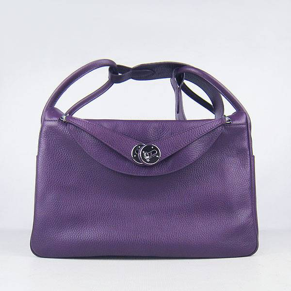 Hermes Lindy 34cm 6208 Purple Calfskin Leather With Silver Hardware