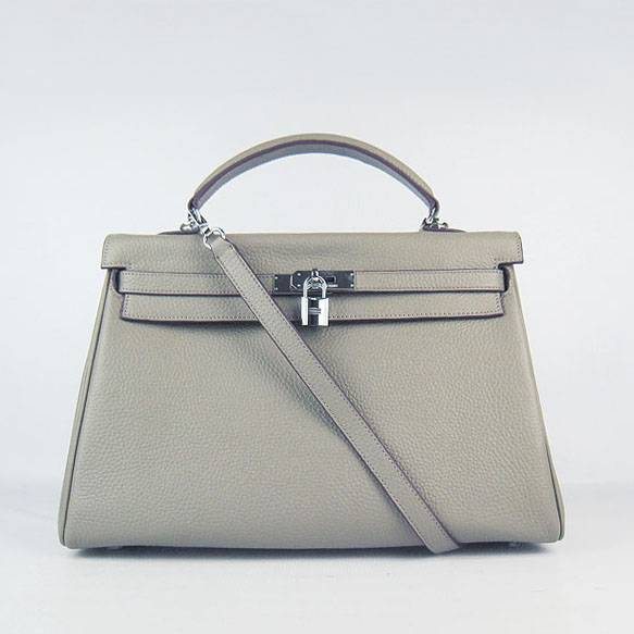 Hermes Mini Kelly 35cm Pouchette 6308 Khaki Calfskin Leather With Silver Hardware