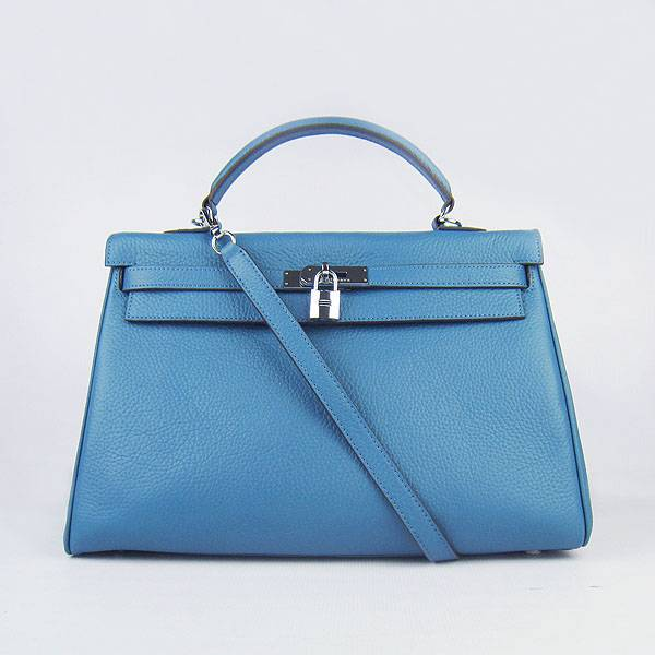 Hermes Mini Kelly 35cm Pouchette 6308 Medium Blue Calfskin Leather With Silver Hardware