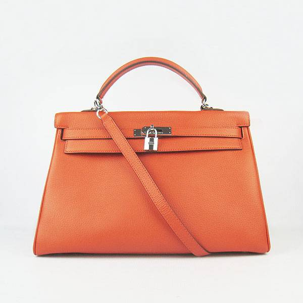 Hermes Mini Kelly 35cm Pouchette 6308 Orange Calfskin Leather With Silver Hardware