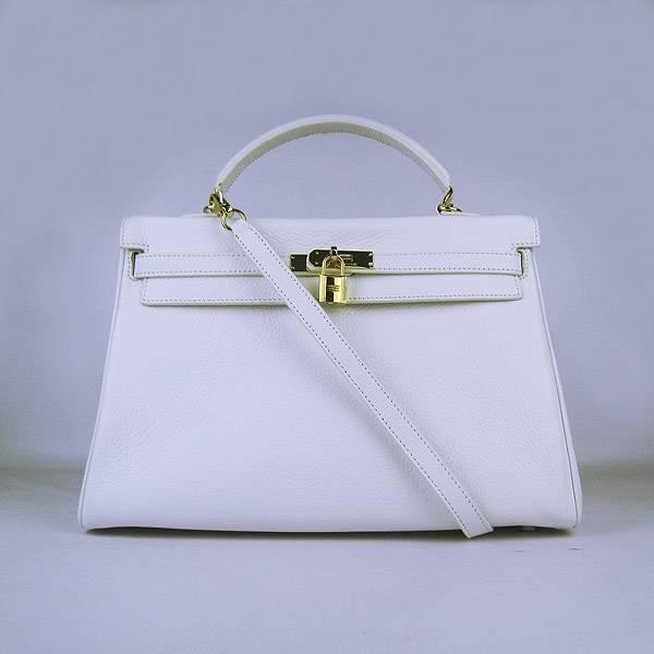 Hermes Mini Kelly 35cm Pouchette 6308 White Calfskin Leather With Gold Hardware