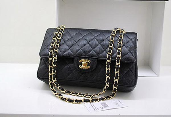 Chanel A1112 Designer Handbag Black Original Caviar Leather With Gold Hardware