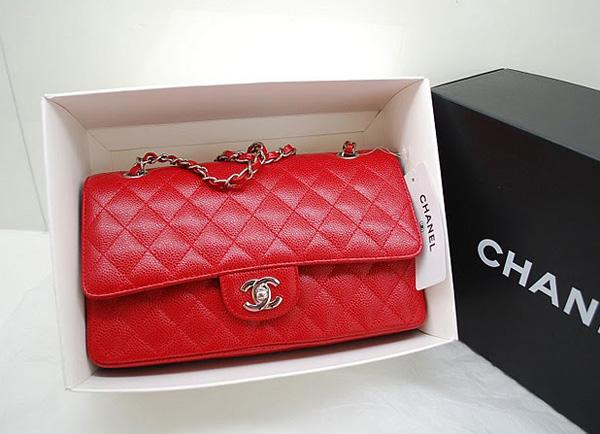 Chanel A1112 Designer Handbag Red Original Caviar Leather With Silver Hardware