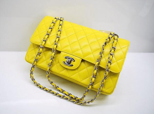 Chanel A1112 Designer Handbag Yellow Original Caviar Leather With Silver Hardware