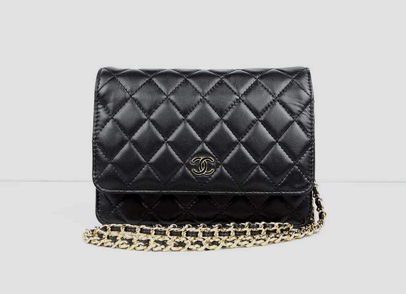 2012 New Arrival Chanel 33814 Black Lambskin Clutch Bag With Gold Hardware