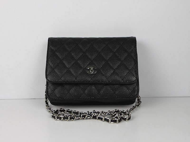 2012 New Arrival Chanel 33814 Black Cowhide Clutch Bag With Silver Hardware