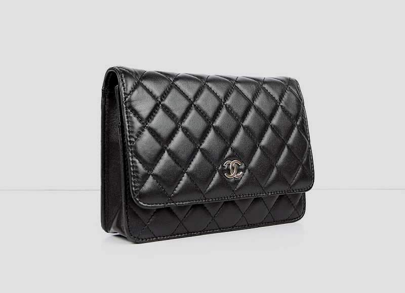 2012 New Arrival Chanel 33814 Black Lambskin Clutch Bag With Silver Hardware