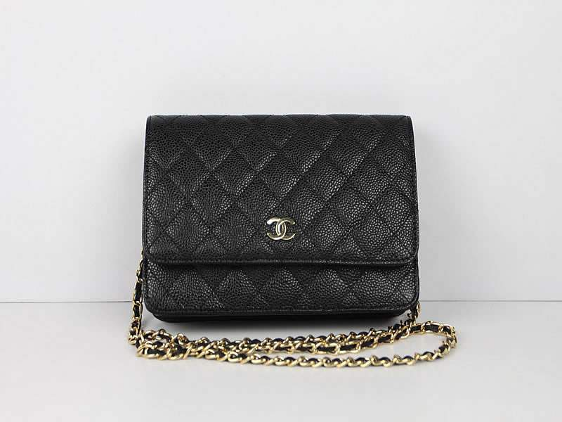 2012 New Arrival Chanel 33814 Black Cowhide Clutch Bag With Gold Hardware
