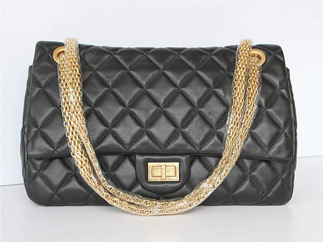 2012 New Arrival Chanel 37951 Black Lambskin Bag With Gold Hardware