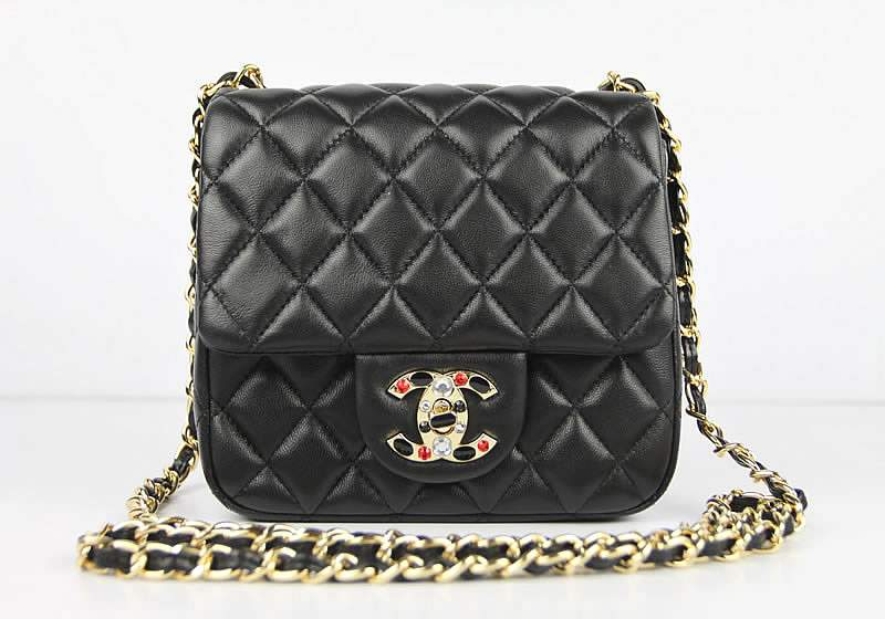 2012 Chanel Classic Flap Bag 49364 Black Lambskin Leather