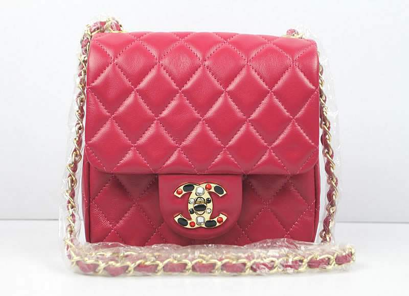 2012 Chanel Classic Flap Bag 49364 Rose Red Lambskin Leather