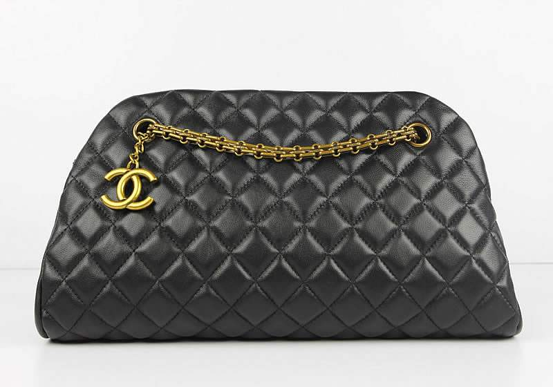 2012 New Arrival Chanel Mademoiselle Bowling Bag 49854 Blacke Lambskin Leather
