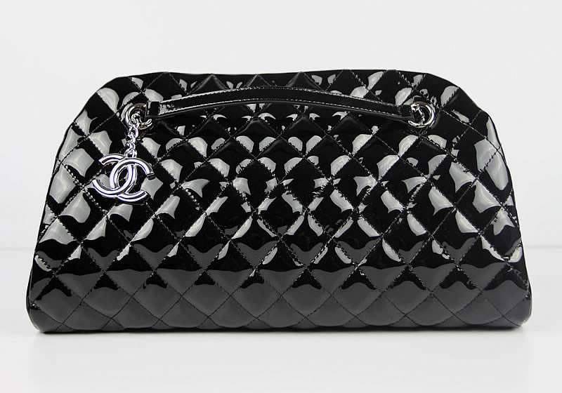 2012 New Arrival Chanel Mademoiselle Bowling Bag 49854 Blacke Shiny Leather