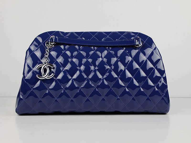 2012 New Arrival Chanel Mademoiselle Bowling Bag 49854 Blue Shiny Leather
