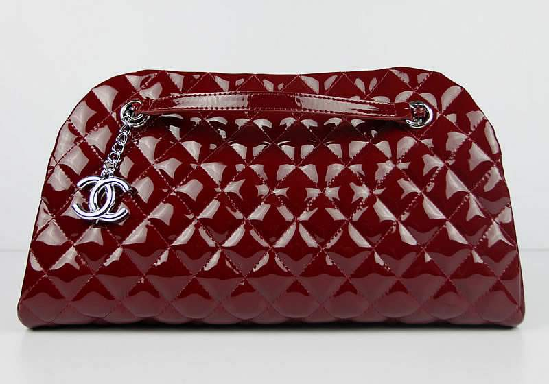 2012 New Arrival Chanel Mademoiselle Bowling Bag 49854 Dark Red Shiny Leather