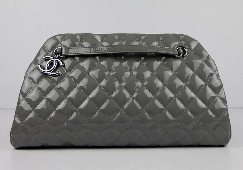 2012 New Arrival Chanel Mademoiselle Bowling Bag 49854 Grey Shiny Leather