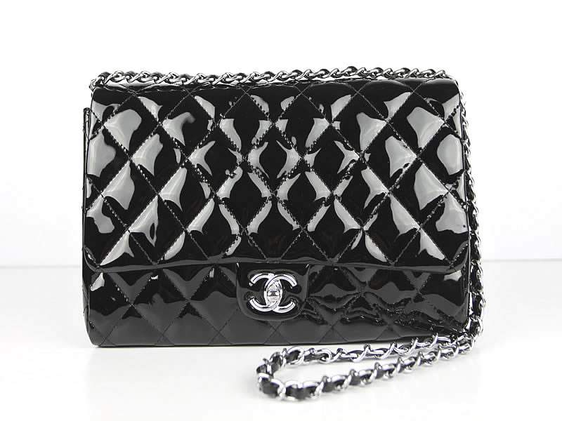 2012 New Arrival Chanel 2.55 Double Flap Bag Patent Leather 65051 Black