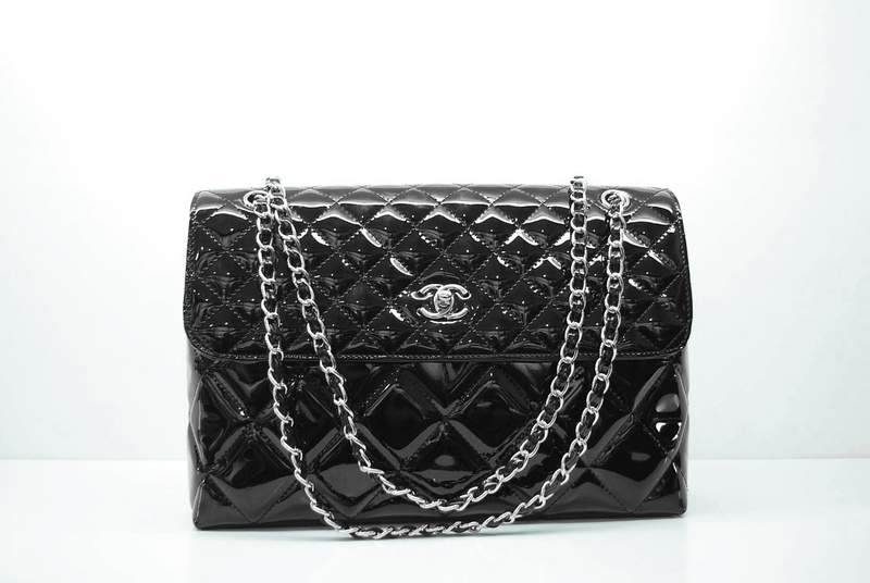 2012 New Arrival Chanel 30154 Black Patent Leather Flap Bags In Business