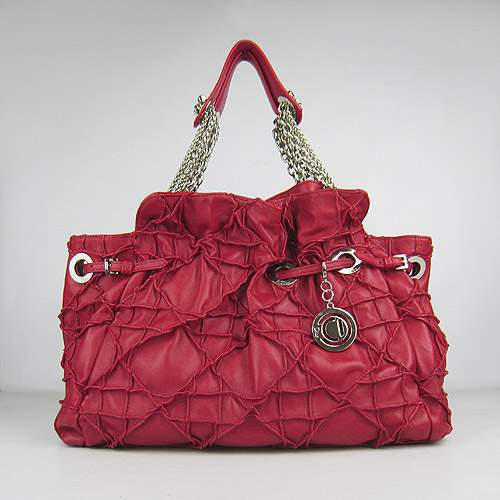 Christian Dior 1816 Lambskin Leather Tote Handbag-Red
